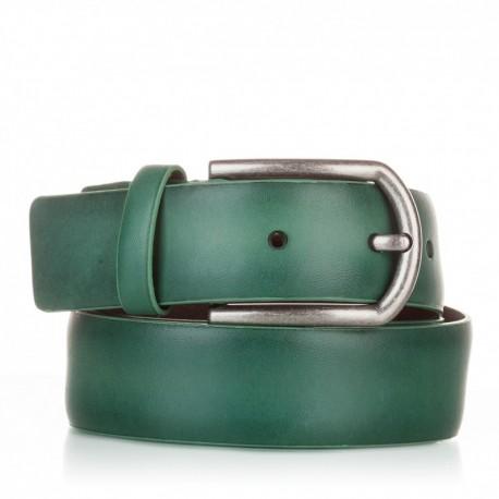 1001-35-KG-VE Cinturón liso de piel verde