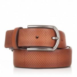 Cinturón grabado de piel cuero
