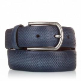 Cinturón grabado de piel azul marino